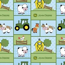 Fabric John Deere Baby Nursery Patchwork on Blue Cotton by the 1/4 yard