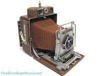Busch PRESSMAN Model D BROWN 4x5 Folding Camera + Synmar Compur Lens