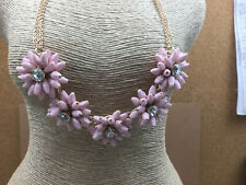 Talbot's Necklace 3D Acrylic Pink & Rhinestone Flowers Statement Runway Goldtone