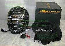 BRAND NEW AKUMA STEALTH Motorcycle Helmet 3X-Large with LED Lights! USAF XXXL mb