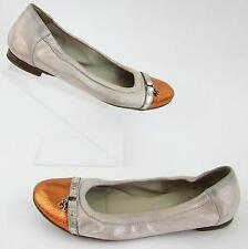 AGL Cap Toe Ballerina Flats Two Tone Nude Shimmer Bright Copper Sz 38 EU / 8 US