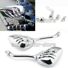 UNIVERSAL CHROME SKELETON SKULL HAND CLAW MOTORCYCLE REAR VIEW MIRRORS 8/10MM US