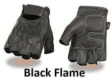 FINGERLESS Black Leather Gloves BLACK FLAMES Gel Palm Motorcycle Biker Rider