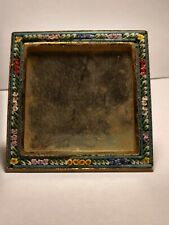 Brass Micro Mosaic Italy Stamped Floral Pattern Easel Stand Glass Intact Patina