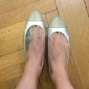MICHAEL KORS gold glitter toe ballet flat - size US10