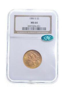 MS64 1886-S $5 Liberty Head Gold Half Eagle - CAC - Graded NGC *4870
