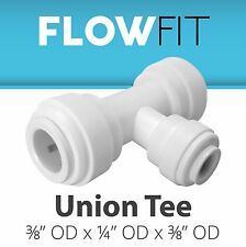 "Express Water Union Tee 3/8"" x 1/4"" x 3/8"" Quick Connect RO Fittings, BPA Free"
