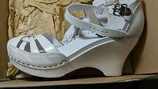Swedish Hasbeens Blanco Tacón con plataforma cerrado Toe obstruir UE tamaño 38/Zapatos De Novia