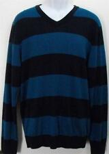 Old Navy Mens Cotton Sweater Large Blue Long Sleeve Crewneck Striped L