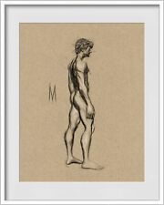 ORIGINAL NUDE MALE POSE FIGURE 8x10 MIXED MEDIA DRAWING