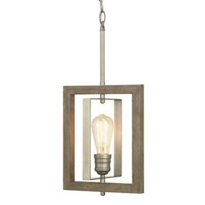 Mini-Pendant 1-Light Antique Nickel Painted Weathered Gray Wood Accents Cage