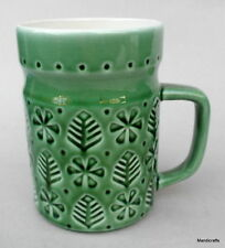 Coffee Mug Secla Portugal Green Art Pottery Fir Tree Sprig Floral Embossed
