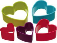 Colourworks by Kitchen Craft Set of 5 Heart Biscuit Pastry Cookie Cutters & Tub