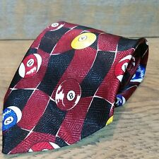 "Billiards Themed Novelty Tie Burgundy Black Designs By A. Rogers 1997 4"" W 62"" L"