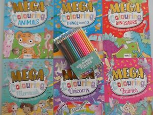 CHILDRENS MEGA  COLOURING BOOK / BOOKS / COLOURING PENCILS.  90 GREAT PICTURES P