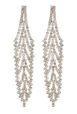 CLIP ON EARRINGS - gold chandelier earring with clear crystals - Carew G