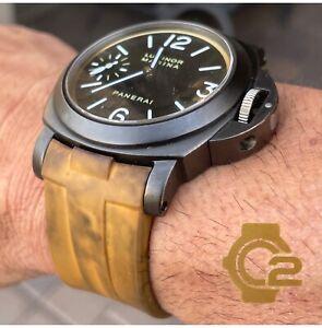 Distressed Panerai 44mm Luminor 24mm Vulcanized Rubber Watch Strap yellow-brown