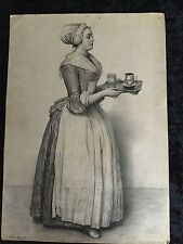 "18th Century Jean-Etrenne Liatard Etching Of "" The Hot Chocolate Girl"""