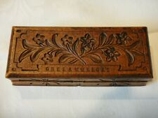 German Bavaria Oberammergau Wood Carved Hand Made Stamp Box