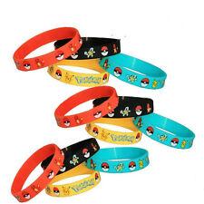 4PCS Lots Pokemon Go Pikach Wristband Silicone Bracelet Party Gifts Kids Bangle