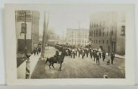 Rppc Parade of Men with Dog Leading the Way c1910 Real Photo Postcard N19