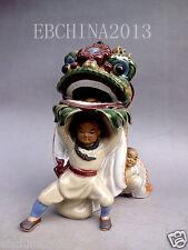 """7.5"""" Chinese Archaize Art Collection Glaze Porcelain Ceramic Lion Dance Statue"""