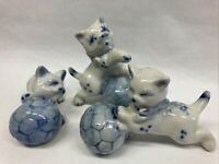 Vtg Blue Delft Ceramic Cats DELFTWARE Blue & White Kittens, Set of 3 Figurines