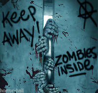 Keep Away-Turn Back-ZOMBIE INSIDE-DOOR COVER-Walking Dead Horror Prop Decoration