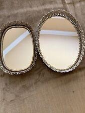 Set Of 2 Vintage Vanity Mirror Trays Ornate Filigree Metal Oblong Mirrors 8�& 9�
