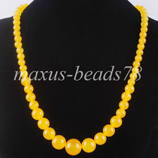 "Yellow Jade Gemstones 6~14mm Graduated Round Beads Necklace 17.5"" Strand MF1060"