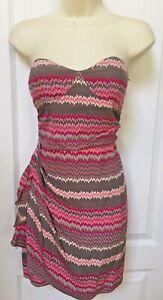 Parker Size Small 4 Woman's Gray Pink White Strapless Silk Wrap Dress