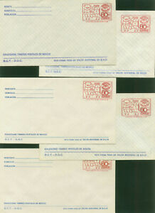 MEXICO  EXPORTA. FIVE 80¢ POSTAL STATIONERY COVERS. MINT, NH VF.