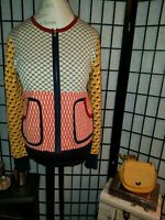 Tory Burch Patterned Golden Zip Up Cardigan Jacket Size M