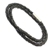 Geflochten schwarz Lederband Bracelet Armband Wraps Around dem Handgelenk doppelt Geschenk