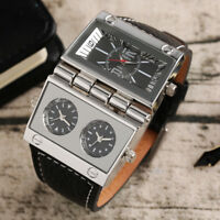 OULM Three Time Zone Movement Leather Band Strap Men Military Wrist Watch Gifts