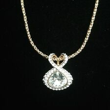 Swarovski Signed Gold and Clear Crystal Pendant
