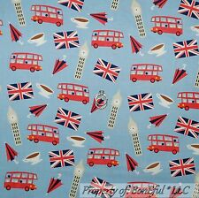 BonEful Fabric FQ Cotton Quilt Red White Blue UK London BUS Flag British Coffee