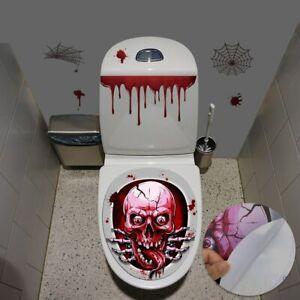 Halloween Skull Horror Toilet Seat Grabber Sticker Cover Spider HandprintSticker
