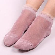 Fashion Women Lace Socks Shiny Crystal Glass Silk Thin Glitter Ankles Short Sock