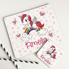 Personalised Wooden Glossy Baby Pink Heart Unicorn Placemat & Coaster Set