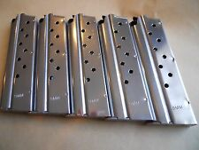 1911 type,  9 mm mag, magazine,mags, 5 mags,9 shot, stainless. USA, GREAT DEAL