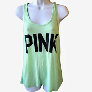 VICTORIA'S SECRET Pink Tank Top Sheer Lace Racerback Neon Green Womens Small S