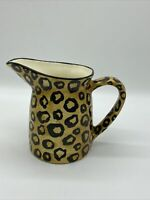 Vtg Laurie Gates Pottery Pitcher Animal Print Cheeta Leopard Wild Ware Ceramic