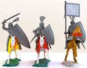 Timpo 3 Recast Mounted Knights - 1990s figure & horse colors & horse poses vary