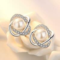 Silber 925 Perlenohrringe Blume Blüte Stecker Ohrstecker Ohrringe Perlen