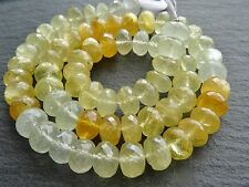 """HAND FACETED AQUAMARINE & HELIODOR RONDELLES, approx 9mm, 16"""", 68 beads, 260ctw"""
