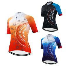 Ladies Cycling Jersey Top Blue/Black/Orange Women's Short Sleeve Bicycle Jersey