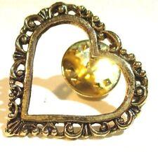 lapel tac pin Filigree Heart Gold tone