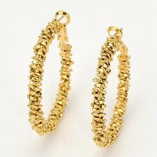 Vogue Women Earrings 18k Yellow Gold Filled 40mm Ring Hoops Charms Jewelry Gift