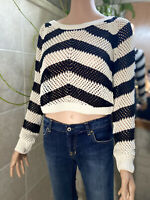 XOXO Black And White Striped Oversize Sweater Open Knit Pullover Size S